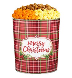 Holly Plaid Merry Christmas Popcorn Tins